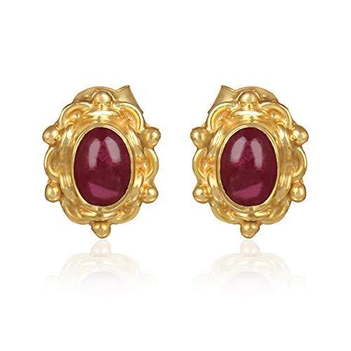 Pink Tourmaline Pearl Stud Earrings Handmade 925 Silver ()