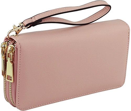 B BRENTANO Vegan Double-Zipper Wallet Clutch with Removable Wrist Strap (Logo - Pink)