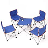 WLDD Outdoor Folding Table Dining Table BBQ Table Camping Household Folding Table Portable Table Booth 1 Table 4 Chairs ( Color : Blue )