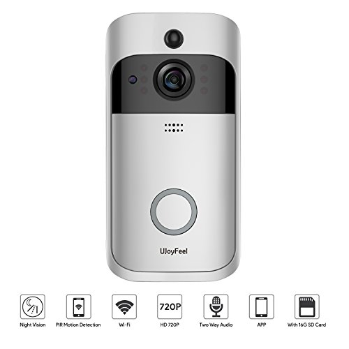 Wireless Doorbell Camera Video Doorbell 720P WiFi Home Security Doorbell Camera with 16GB Storage 2 Rechargeable Battery Night Vision PIR Motion Detection ()