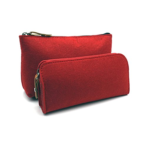 (ERCENTURY Pencil Bag Pen Holder Cosmetic Pouch Bag, Felt Pouch Zipper Bag for School/Office Supplies, Stationeries or Makeup Accessories.2 Sizes in 1 Pack. (Red))