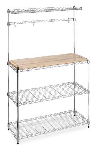 Whitmor Supreme Baker's Rack with Food Safe Removable Wood Cutting Board - Chrome - smallkitchenideas.us