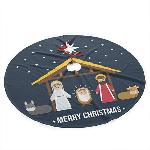 Nativity Scene Tree Skirt - HaSaKa Christmas Jesus Nativity Scene Cartoon 36 Inch Under Christmas Artificial Tree Skirt Carpet Wood Floor Mat Protective Cover Themed Round Pad Classi Pattern Big Large Fancy Xmas