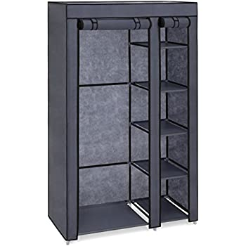 Best Choice Products 6 Shelf Portable Fabric Closet Wardrobe Storage  Organizer W/Cover And Adjustable Rod   Gray