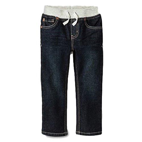 Cat & Jack Rib Waist Straight Stretch Jeans for Boys or Girls Denim Pants (12M, Blue Jean/ Grey Waist Rib)