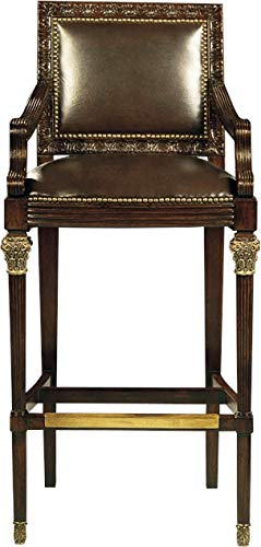 - Scarborough House Bar Stool Mahogany Antique Brown Leather Handsome Brass