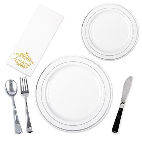 Luxtensil Plastic Disposable Plates with Utensils Set for 25 Guests (150-Pieces Total) Dinner, Salad, and Dessert Dishware | Silver Forks, Knives, and Spoons | Napkins | Heavyweight Place Settings (Setting Place Napkin)