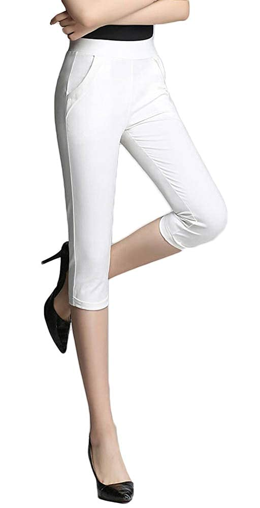 260634226 Top1  AvaCostume Women s Casual Pull On Capri Pants Slim Cropped Trousers