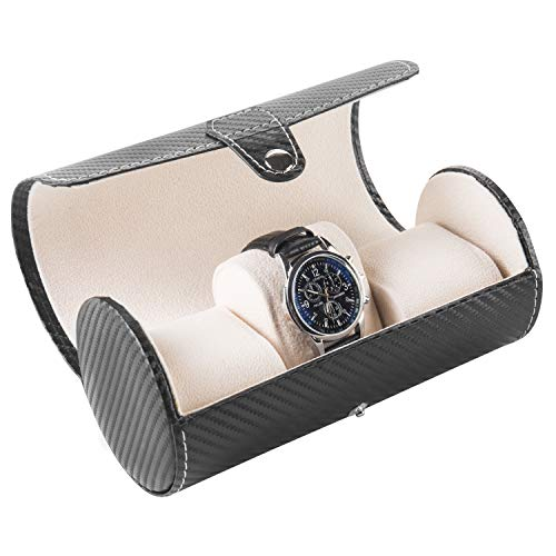 MyGift Leatherette 3-Watch Roll Case with Carbon Fiber Design, Bracelet Storage Organizer