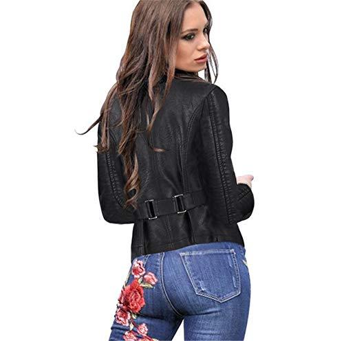 Femmes Slim À Pu Col Petit Femme Dame Ceinture Zipper Cuir En Manches Casual Black Rond Outwear Automne Avec Veste Court Longues Style Z4ZBwx