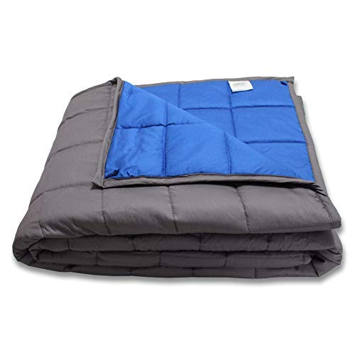 "Text Blue 60lb - CMFRT Weighted Blanket for Kids - | 100% Soft Breathable Cotton (41""x56"" – 7 lb) 