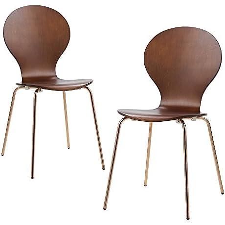 Versanora VNF 00018 Contorno Vintage Stylish And Versatile Bentwood Set Of 2 Chairs Walnut Rose Gold