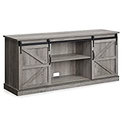 Farmhouse Living Room Furniture BELLEZE Vintage Farmhouse Sliding Door Television Console Wood Mental Entertainment Center for TVs Up to 65″ with Storage Cabinet and Shelves, 58″, Gray Wash farmhouse tv stands