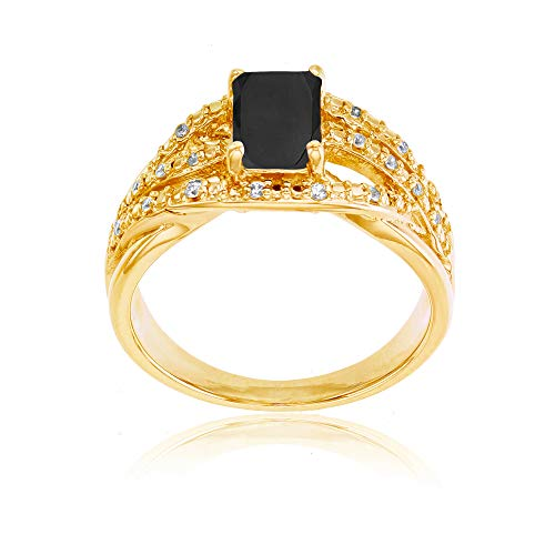 - Sterling Silver Yellow 1mm Created White Sapphire & 7x5mm Octagon Onyx Ring