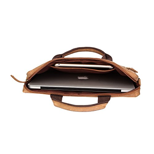 and Sleeve Soft Bag Laptop compartments multiple with Inch Color Nylon Laptop Zippered Bag 13 Cow Leather Leather Handle Brown xzIXxY