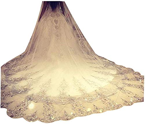 Leekida Ivory Long Cathedral Crystal Wedding Veils with Free Comb
