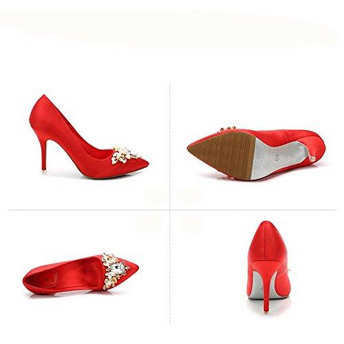 HXVU56546 Primavera Y Otoño La Mujer Tacones Altos Y Perforación De Agua Parte Sharp Solo Zapatos De Cristal gules