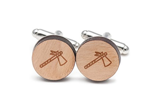 Tomahawk Cufflinks, Wood Cufflinks Hand Made in the USA