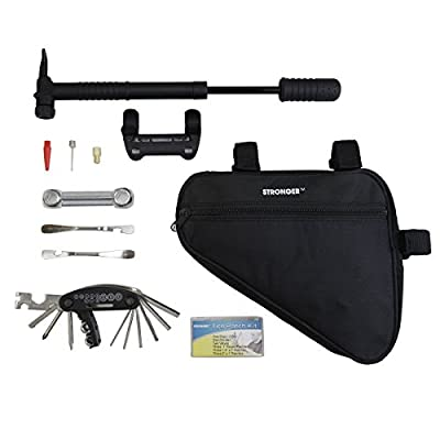 LB1 High Performance Bicycle Bike Repair Tool Kit with 29 Bicycle Tools, Tire Pump, Tire Patches, Tire Levers, Hanging Bag Bicycle Cycling Maintenance Tool Set