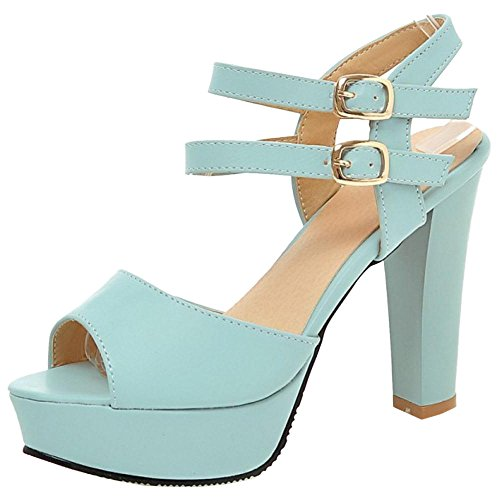 Coolcept Women Fashion High Heel Sandals Ankle Strap Blue