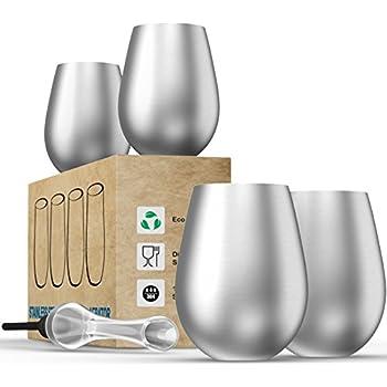 Stainless Steel Wine Glasses + Wine Aerator - Stemless - Set of 4 -18 Oz - Unbreakable - BPA Free - Shatterproof