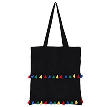 Bullidea Canvas Tote Bags Large Cotton Tote Shopping Bag Students Shoulder Bags with Zipper Tassel Decoration Eco-Friendly