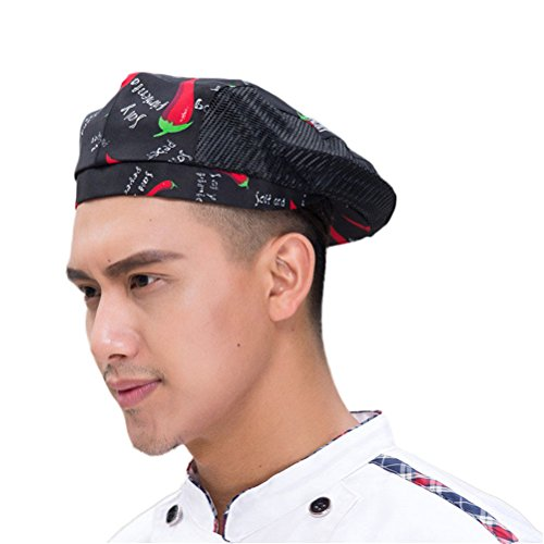 Nanxson Chef Flat Beret Pastry Baker Kitchen Summer Mesh Cooking Works Uniforms Chef Hat for Adults CF9021 (Pepper)]()