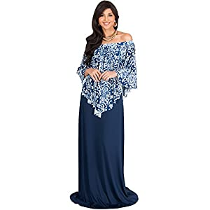 93d4dd6e434c7 KOH KOH Petite Womens Long Strapless Flowy Poncho Cocktail Evening Elegant  Damask Print Cute Off Shoulder Shoulderless Sexy Gown Gowns Maxi Dress  Dresses