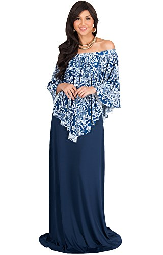 KOH KOH Womens Long Strapless Flowy Poncho Cocktail Evening Elegant Damask Print Cute Off Shoulder Shoulderless Sexy Gown Gowns Maxi Dress Dresses, Navy Blue and White L 12-14