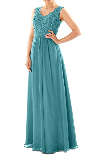 MACloth Women V Neck Lace Chiffon Long Prom Dresses Formal Party Evening Gown Turquesa