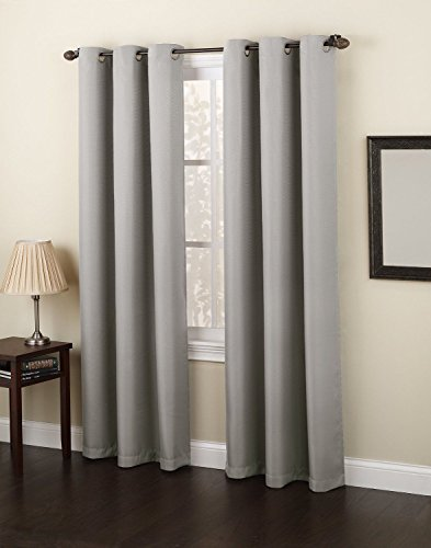 Gorgeous Home Linen *Various of Colors & Sizes* 1 PC #92 , Solid Insulated Foam Backing Lined Blackout Hotel Quality Grommet Top, Soft Smooth Touch, Window Curtain Panel (84″ Length, Silver Grey)
