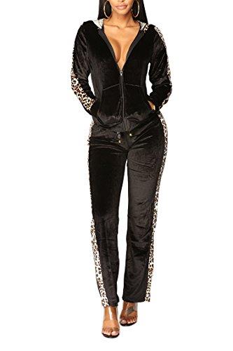 (Selowin Women's Velour Zipper Front Side Leopard Striped Two Piece Outfits Set Black S)