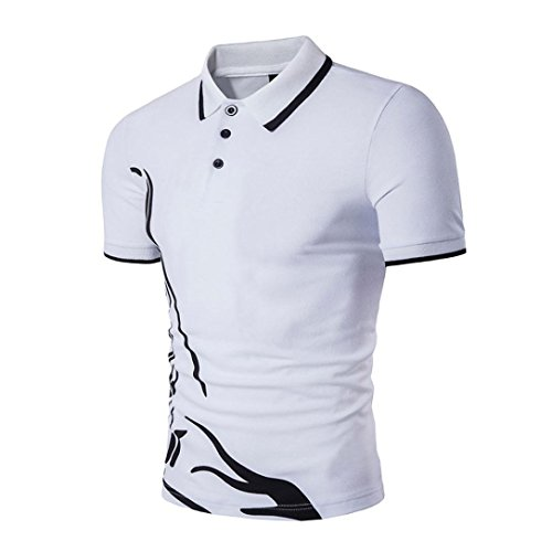 Forthery Men Polo Shirts Short Sleeve Slim Sports Henley T-Shirt Clearance Sale (White, US XL = Asia (Henley Flowers)