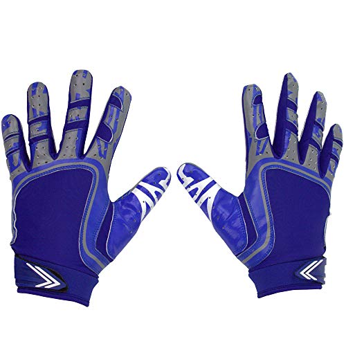 Pure Athlete Football Receiver Gloves - Elite-Stick Silicone Gripping Technology - Adult/Youth (Blue, Youth Small)