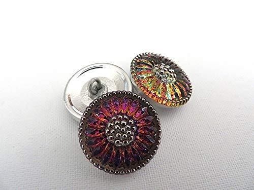 1 Silver Volcano Daisy Sun Czech Glass Button ()
