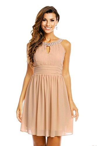 Chiffon Kleid mit Strass und Schlüsselloch Ausschnitt - oben in eng anliegender, taillierter Form - am Rücken gesmokt - HHS373, Größe:38;Farbe:hellbraun