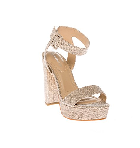 CALICO KIKI Women's Shoes Buckle Ankle Strap Open Toe Chunky High Heel Platform Dress Sandals (7.5 US, Gold Glitter)