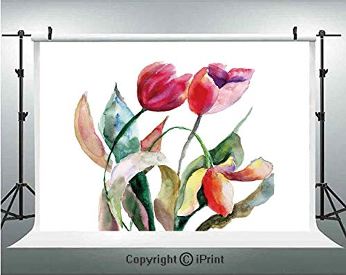- Art Photography Backdrops Watercolor Tulip Flowers Bouquet Feminine Beauty Spring Revival Image Decorative,Birthday Party Background Customized Microfiber Photo Studio Props,8x8ft,Scarlet Magenta Fore