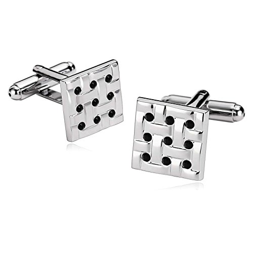 AmDxD Jewelry Stainless Steel Cufflinks for Men Square Weave Black Cuff Links - Oroton Glasses