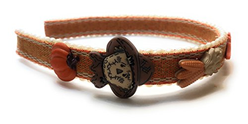 Embellished Fall Ribbon Wrapped Headband with Scarecrow Pumpkin Corn Acorns and Leaves