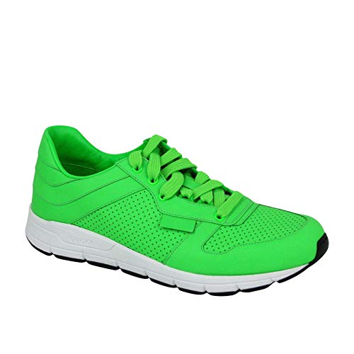 8a4737710fc2 Gucci Running Neon Green Leather Lace up Sneakers 369088 3707 (10 G   10.5  US)
