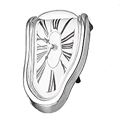 Koicaxy Melting Clock,Salvador Dali Melted Clock Watch Sits on Shelf Desk Table Decor Silver