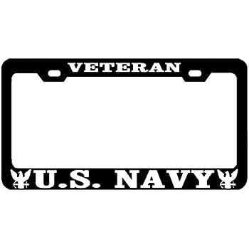 Very Amazon.com: United States Navy veteran metal license plate frame  SB73