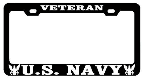 customamericans Veteran U.S. Navy Auto License Plate Frame Tag Metal, Weatherproof Vinyl Letters Black White ()