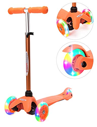 ChromeWheels Scooter for Kids, Deluxe 4 Adjustable Height 3 Wheels Glider with Kick Scooters, Lean to Steer with LED Flashing Light for Kids 3-6 Years Old Girls Boys Toddlers, Orange