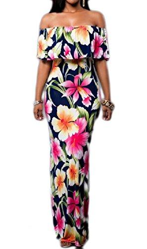 Coolred-femmes Backless Épaule De Printemps Floral Volanté Forme Et Robes Flare Bleu Foncé