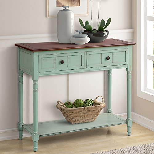 Entryway Traditional (Harper&Bright Designs Daisy Series Console Table Traditional Design with Two Drawers and Bottom Shelf Acacia Mangium (Antique Blue))