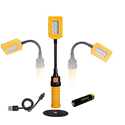 YONGYUE Bright Portable LED Work Light Rechargeable Battery Powered Lamp With Magnetic Stand For DIY, Workshop,Warehouse And Garage Car/Truck Repair,Reading,Camping,Hiking,Recreation Lighting