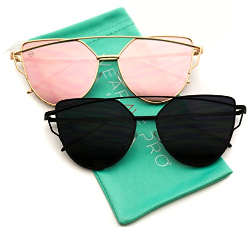 WearMe Pro - Elegant Street Fashion Metal Frame Women Mirror Cat Eye Sunglasses (Double Pack: Gold Frame / Mirror Pink - Full Black, - Cat Gold Sunglasses Eye