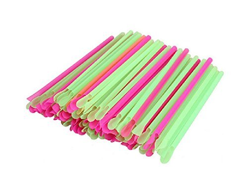 [50 pcs multicolour spoon straw Disposable Spoon Plastic Drinking Straw Party Ice Smoothies Milkshake Bar Snow Cone Candy] (Fire And Ice Party Costumes)